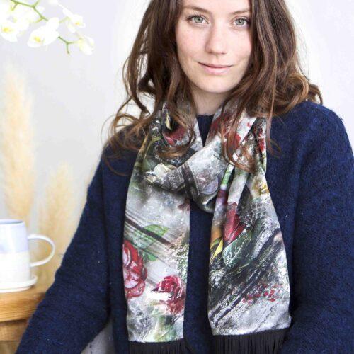 StephieAnn Rose Silk Scarf