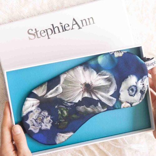 Women's blue silk eye mask by StephieAnn