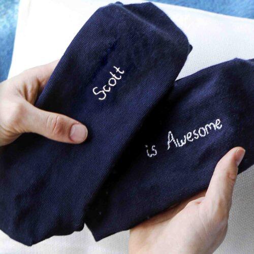 StephieAnn Men's personalised stripy socks