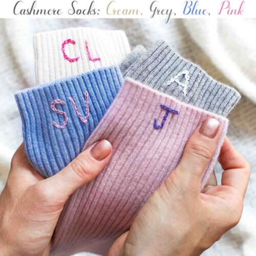 Cashmere Personalised bed socks in gift boxes