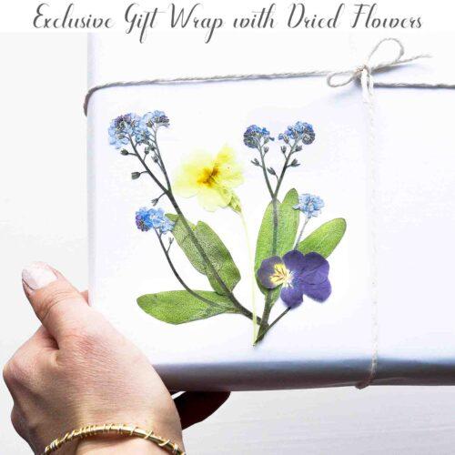 StephieAnn pressed flower gift wrap