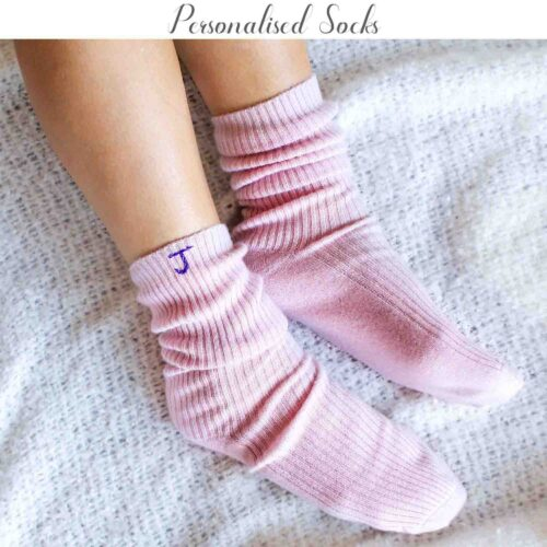 Pink Personalised Cashmere Socks StephieAnn