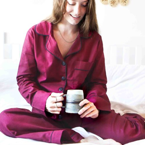StephieAnn red embroidered Cotton pyjamas
