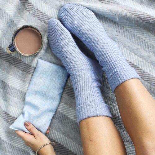 Blue bed Socks and Wheat bag StephieAnn
