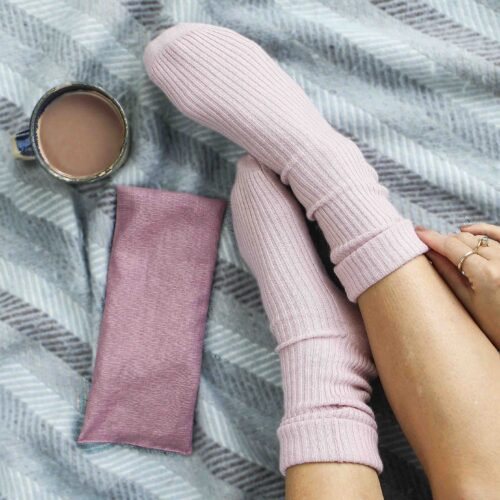 Pink bed Socks and heat bag gift Set StephieAnn