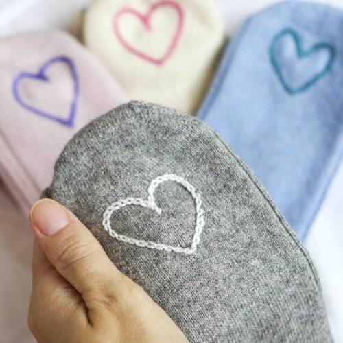 StephieAnn heart embroidered socks