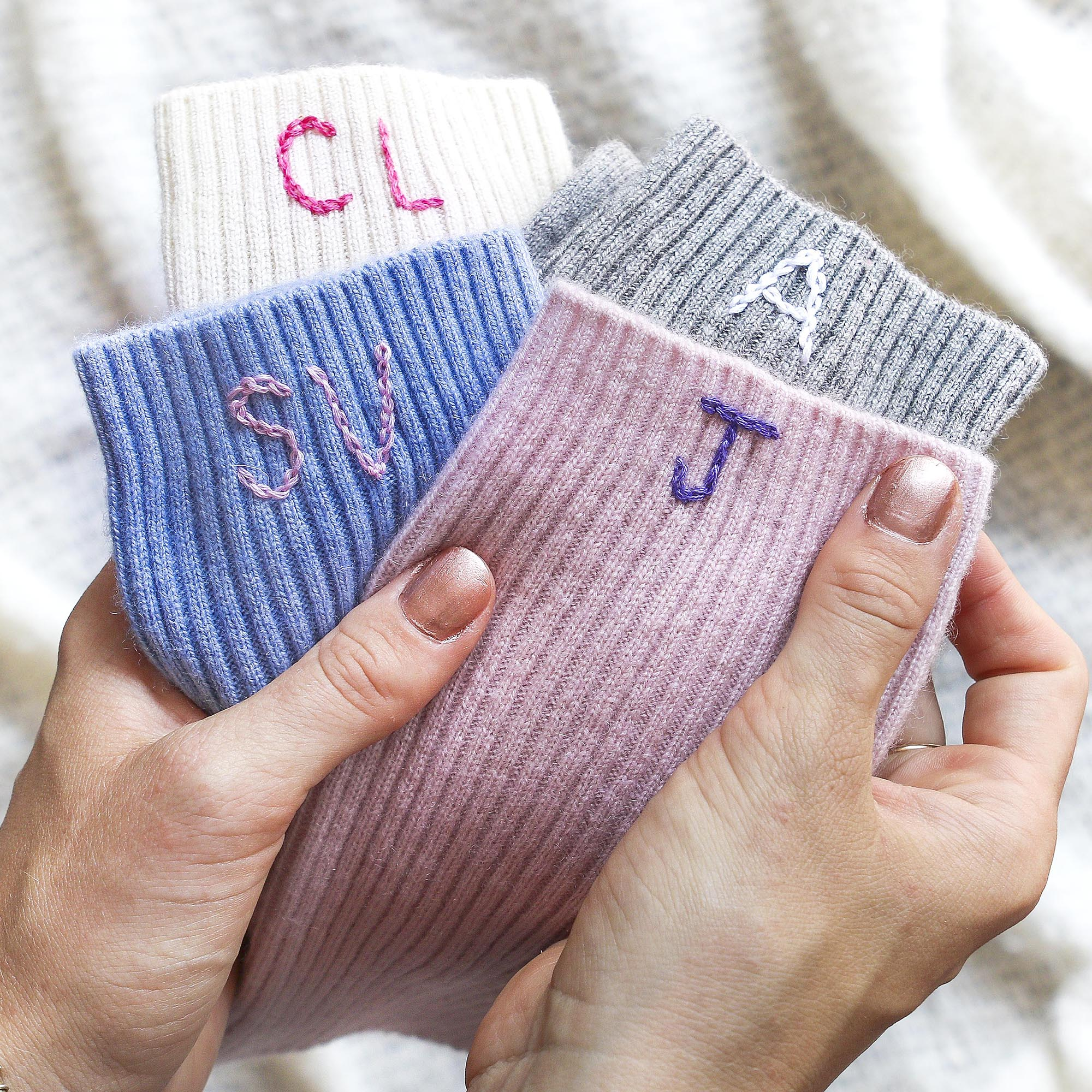 StephieAnn Cashmere Initialed bed socks