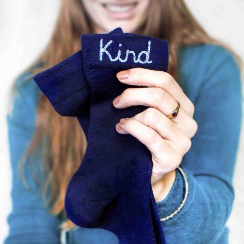 StephieAnn Kind embroidered socks