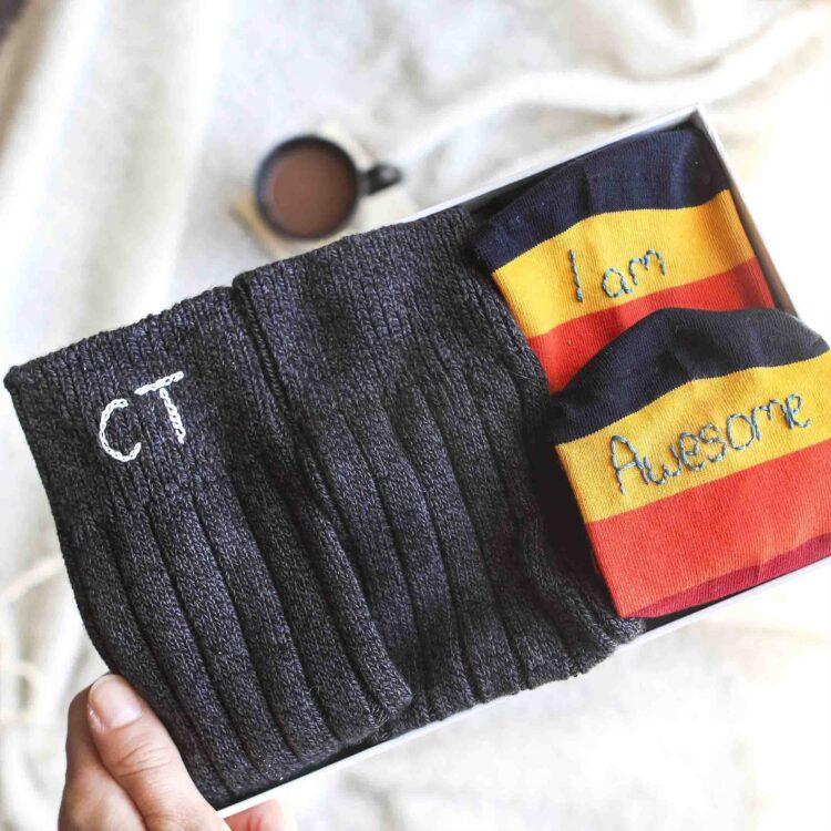 StephieAnn Men's personalised sock gift set