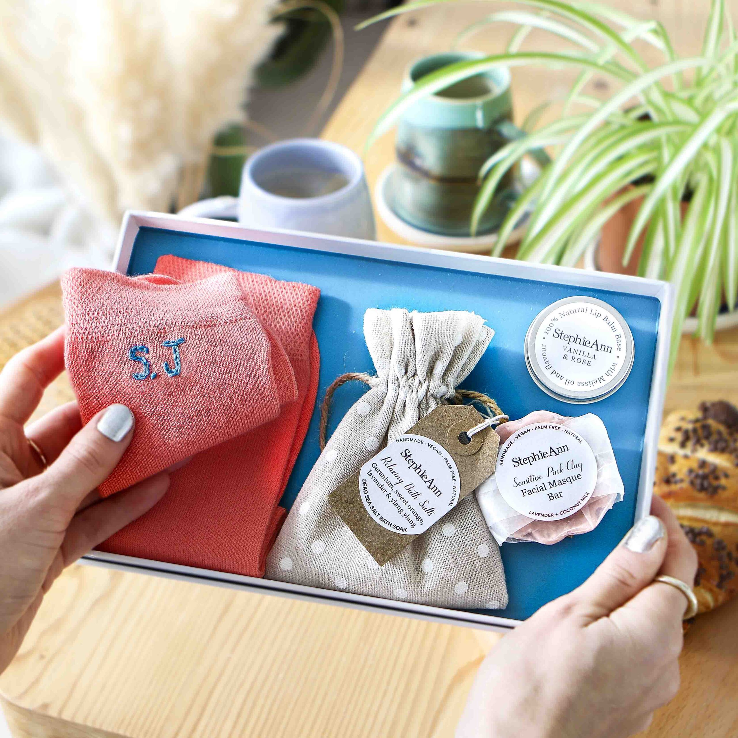 Pamper Letterbox Gift Set With Personalised Socks