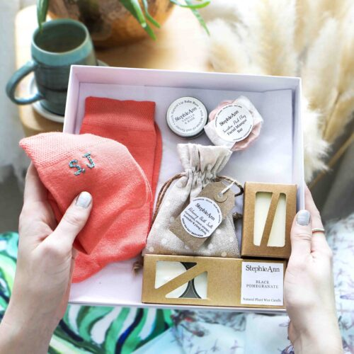 Bath And Body Gift Set With Personalised Socks