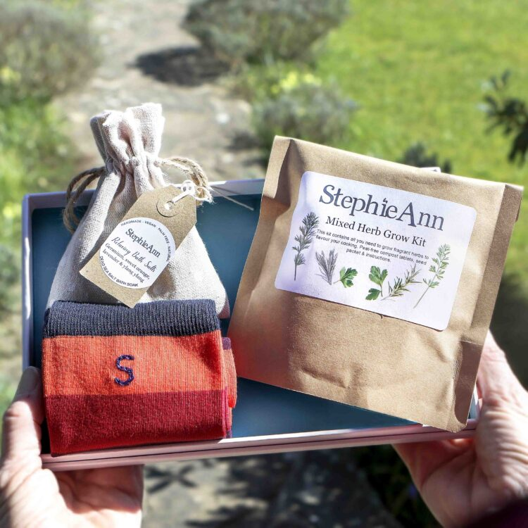 Men's Letterbox Gift Set With Personalised Socks & Grow Kit
