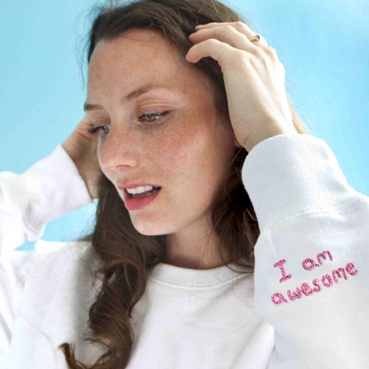 I am awesome personalised organic sweatshirt