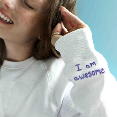I am Awesome organic cotton sweatshirt square