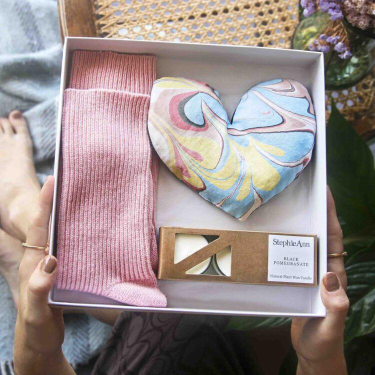 Wheatbag socks tealights gift set